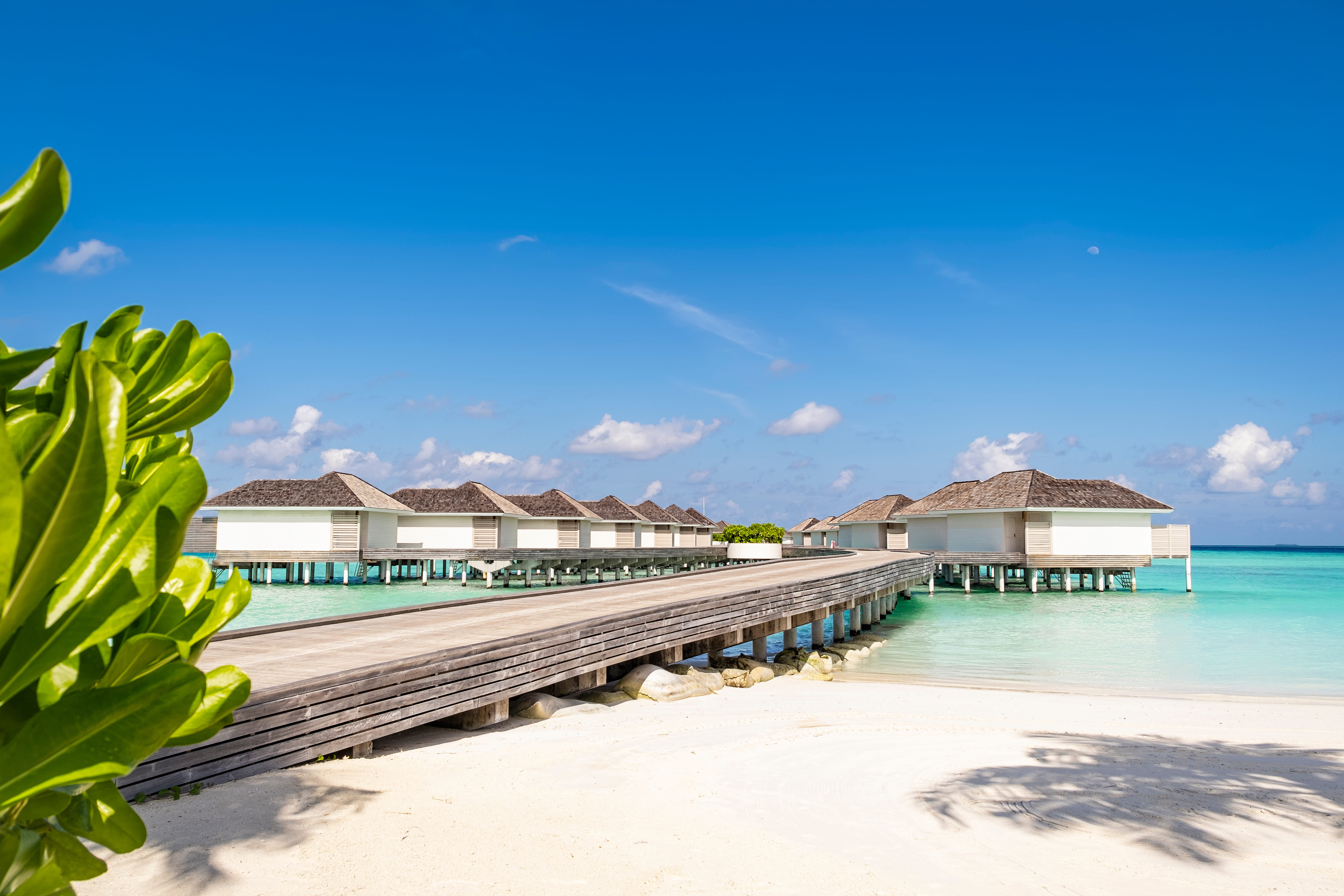 Bright Blue Sky and the Crystal Clear Sea Water of Maldives